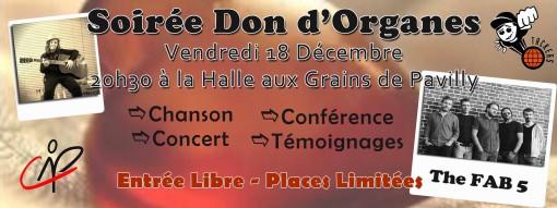 evenement concert fab 5 don d'organes pavilly halle aux grains 18 decembre